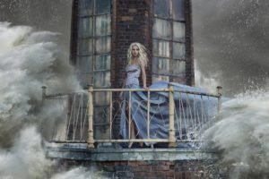 anime, Blonde, Long hair, Looking at viewer, Dress, Lighthouse, Sea, Waves, Storm, Open mouth, Bricks, Window, High heels, Digital art, Model, Women