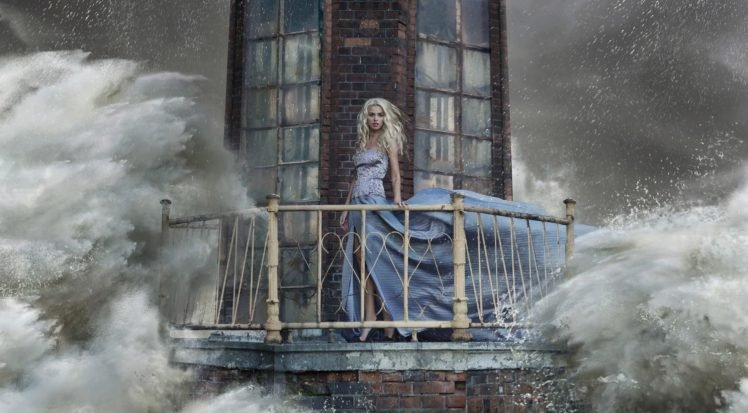 anime, Blonde, Long hair, Looking at viewer, Dress, Lighthouse, Sea, Waves, Storm, Open mouth, Bricks, Window, High heels, Digital art, Model, Women HD Wallpaper Desktop Background