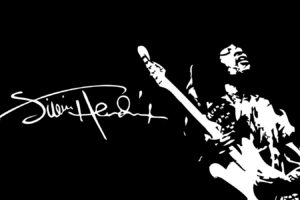 men, Singer, Jimi Hendrix, Guitar, Blues rock, Legends, Afro, Minimalism, Artwork, Monochrome, Signatures, White, Black background, Playing, Musicians
