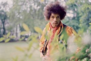 men, Singer, Jimi Hendrix, Guitar, Blues rock, Legends, Afro, Looking at viewer, Nature, Trees, Musicians