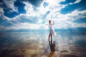 sky, Women, Reflection, Water