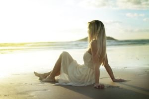 women, Blonde, Beach, Dress, White dress
