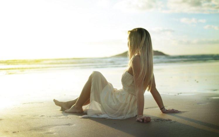 women, Blonde, Beach, Dress, White dress HD Wallpaper Desktop Background
