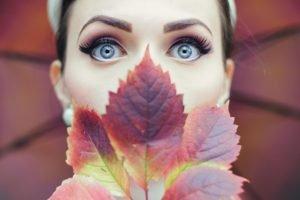 women, Face, Blue eyes, Leaves