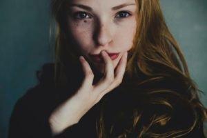 women, Face, Redhead, Blue eyes, Freckles