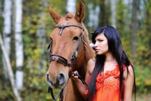 women, Brunette, Horse, Animals, Long hair, Dark hair