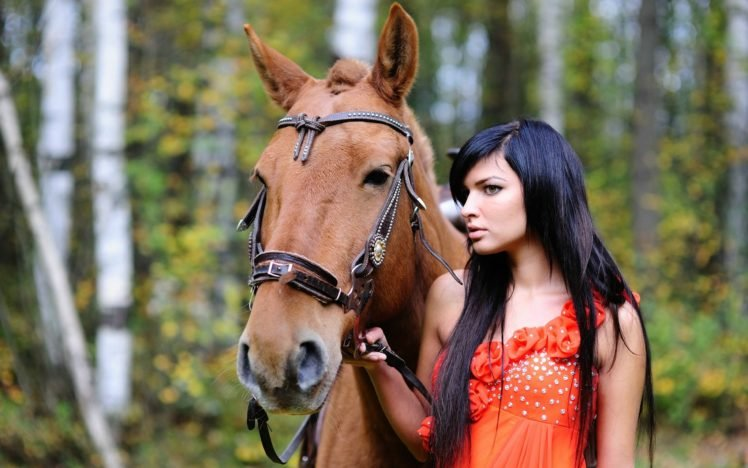women, Brunette, Horse, Animals, Long hair, Dark hair HD Wallpaper Desktop Background