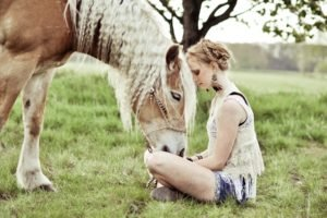 women, Blonde, Horse, Animals, Women outdoors, Braids, Shorts, Jean shorts, Tank top, Bracelets, Earrings, Legs  crossed