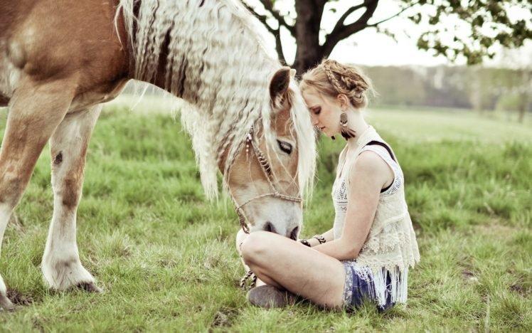 women, Blonde, Horse, Animals, Women outdoors, Braids, Shorts, Jean shorts, Tank top, Bracelets, Earrings, Legs  crossed HD Wallpaper Desktop Background