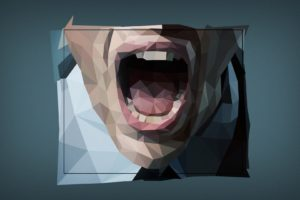 low poly, Digital art, Simple, Face, Open mouth