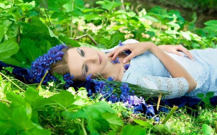 women, Model, Brunette, Face, Women outdoors, Lying on back, Nature, Flowers, Leaves, Makeup, Dress, Sunlight, Blue flowers HD Wallpaper Desktop Background