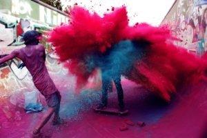 Holi, Powder, Colorful, India, Skateboarding