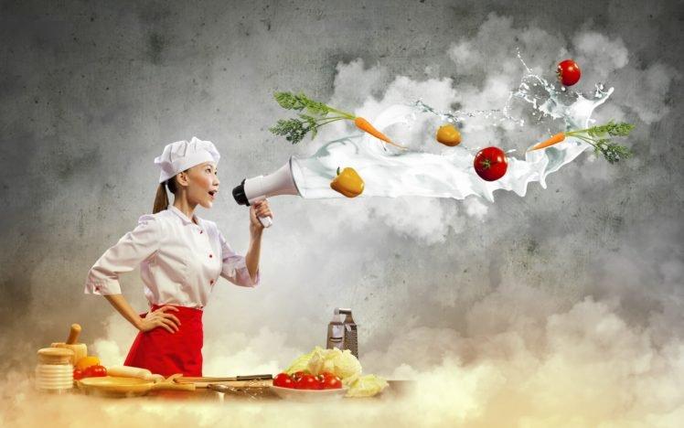 women, Model, Brunette, Asian, Long hair, Cook, Kitchen, Skirt, Vegetables, Tomatoes, Peppers, Carrots, Table, Plates, Photo manipulation HD Wallpaper Desktop Background