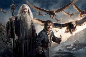 movies, The Hobbit: The Battle of the Five Armies, The Hobbit, Gandalf, Bilbo Baggins, Ian McKellen, Eagle, Wizard, Martin Freeman