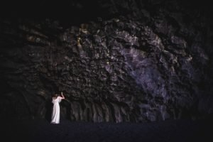 nature, Rock, Cave, Women, Model, Brunette, Long hair, White dress, Dark, Stones, Contrast