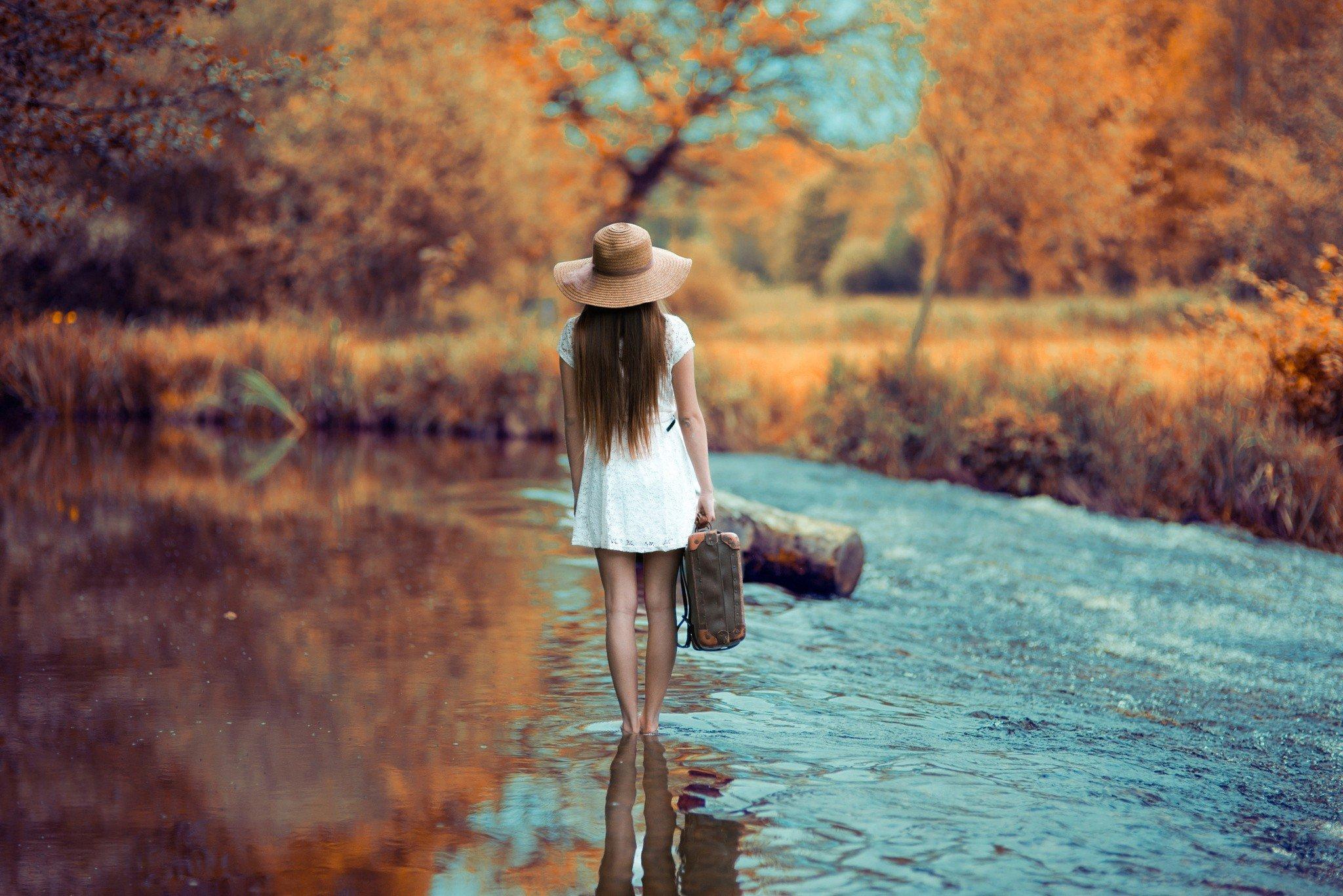 women, Model, Brunette, Long hair, Nature, White dress ...