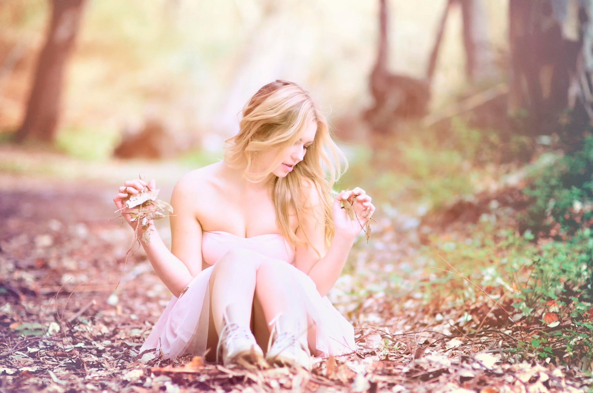 women, Women outdoors, White dress Wallpaper