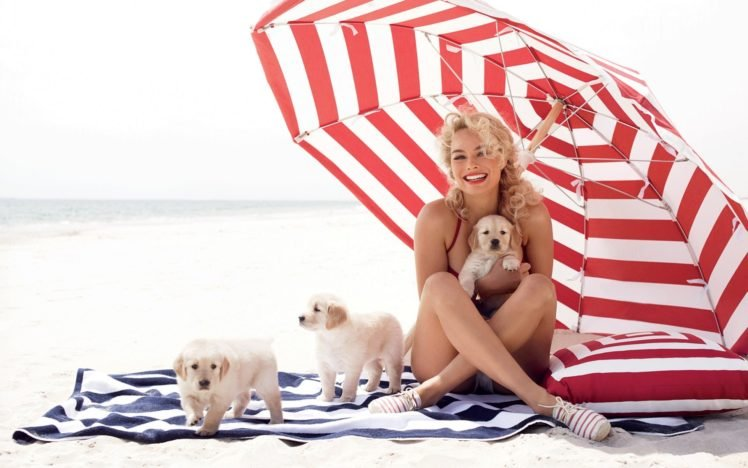 Margot Robbie, Women, Blonde, Dog, Animals, Curly hair, Umbrella, Puppies HD Wallpaper Desktop Background