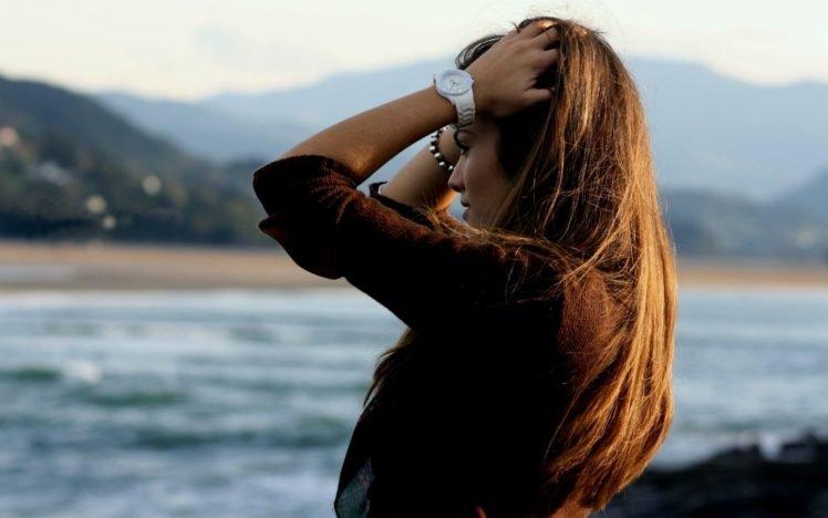 women, Hands on head, Brunette, Arms up, Sweater HD Wallpaper Desktop Background
