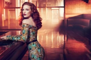 Jessica Chastain, Women, Redhead, Actress, Red lipstick, Dress