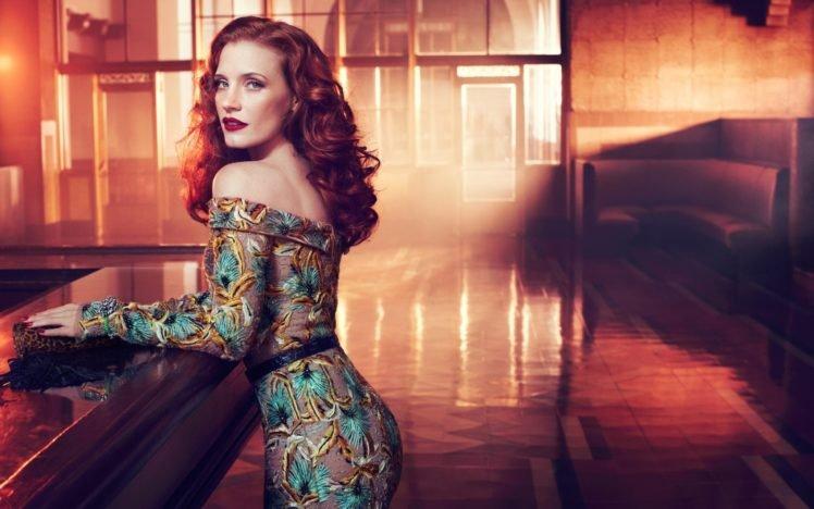 Jessica Chastain, Women, Redhead, Actress, Red lipstick, Dress HD Wallpaper Desktop Background