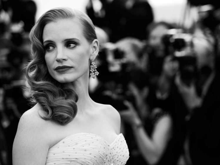 Jessica Chastain, Women, Redhead, Actress, Monochrome HD Wallpaper Desktop Background