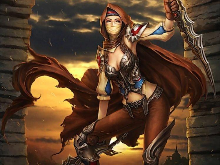 anime girls, Warrior HD Wallpaper Desktop Background