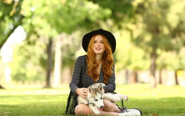 women, Model, Redhead, Long hair, Nature, Trees, Women outdoors, Sitting, Looking at viewer, Animals, Dog, Grass, Park, Open mouth, Bella Thorne HD Wallpaper Desktop Background