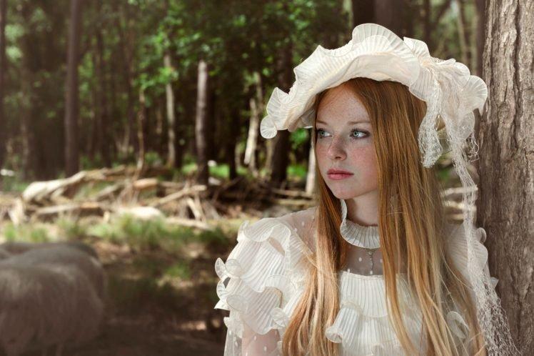 women, Model, Redhead, Long hair, Nature, Trees, Forest, Women outdoors, Freckles, White dress, Looking away, Blue eyes, Sheep HD Wallpaper Desktop Background