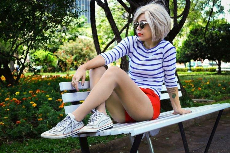 women, Brunette, Sunglasses, Shorts, Legs, Striped, Women outdoors, Bench, Tattoo, Painted nails HD Wallpaper Desktop Background
