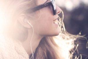 women, Smiling, Blonde, Face, Headphones
