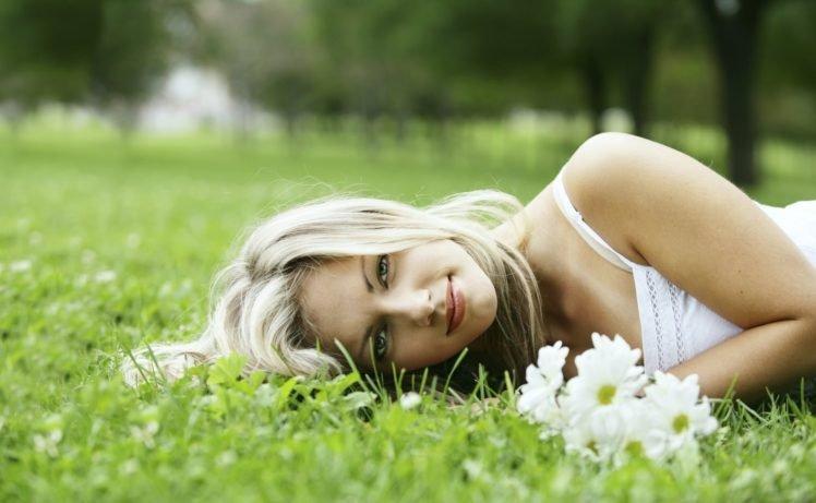women, Blonde, Nature, Flowers, Lying down, Dress, White dress, Blue eyes, Women outdoors HD Wallpaper Desktop Background