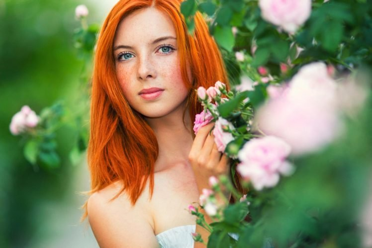 women, Redhead, Blue eyes, Freckles, Face HD Wallpaper Desktop Background