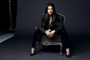 women, Model, Brunette, Long hair, Black clothes, Sitting, Marie Avgeropoulos, High heels, Chair, Looking at viewer, Open mouth, Actress, Studios