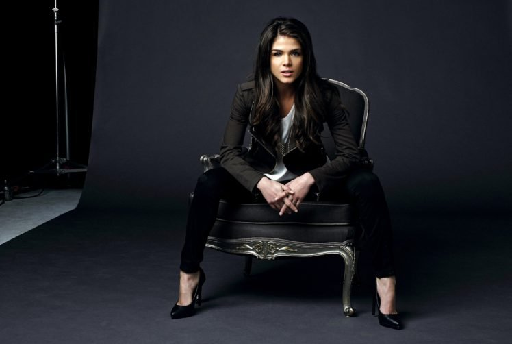 women, Model, Brunette, Long hair, Black clothes, Sitting, Marie Avgeropoulos, High heels, Chair, Looking at viewer, Open mouth, Actress, Studios HD Wallpaper Desktop Background
