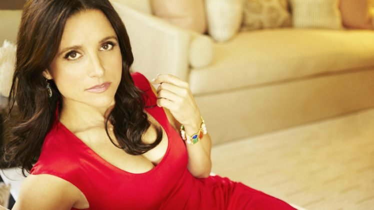 Julia Louis Dreyfus, Brunette, Actress, Red dress HD Wallpaper Desktop Background