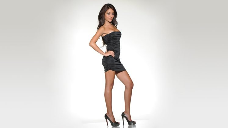 melanie iglesias brunette high heels black dress model