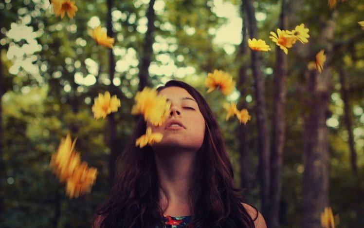 women, Face, Women outdoors, Flowers, Brunette HD Wallpaper Desktop Background