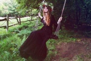 women, Women outdoors, Wreaths, Swings
