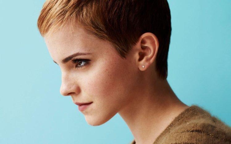 Emma Watson, Women, Actress, Face, Short hair, Freckles HD Wallpaper Desktop Background
