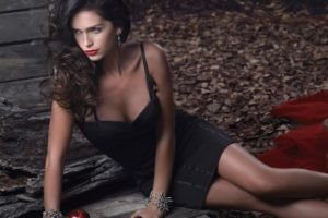 Zaira Nara, Women, Brunette, Model, Dress, Black dress, Apples, Red lipstick
