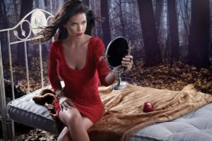 Zaira Nara, Women, Brunette, Model, Dress, Red dress, Apples, Legs, Bed