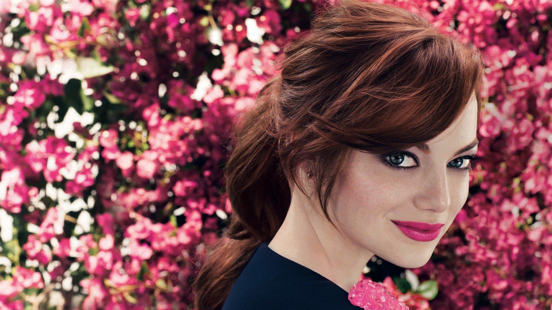 Emma Stone, Face, Blue eyes, Actress Wallpaper