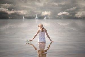 women, Model, Sea