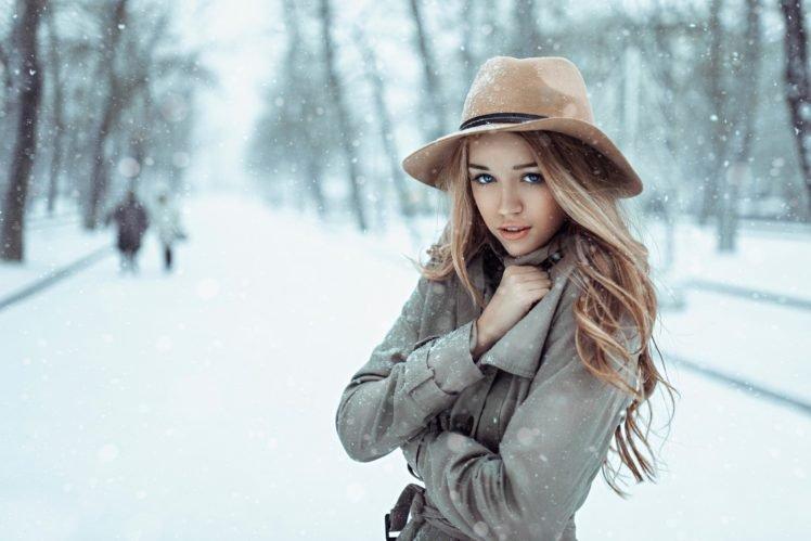 women, Model, Blonde, Long hair, Blue eyes, Open mouth, Looking at viewer, Winter, Snow, Women outdoors, Coats, Cold, Park, Trees HD Wallpaper Desktop Background