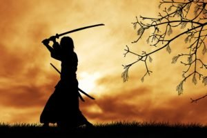 samurai, Japanese clothes, Katana, Silhouette, Trees, Branch, Grass, Clouds, Sun, Digital art, Sword