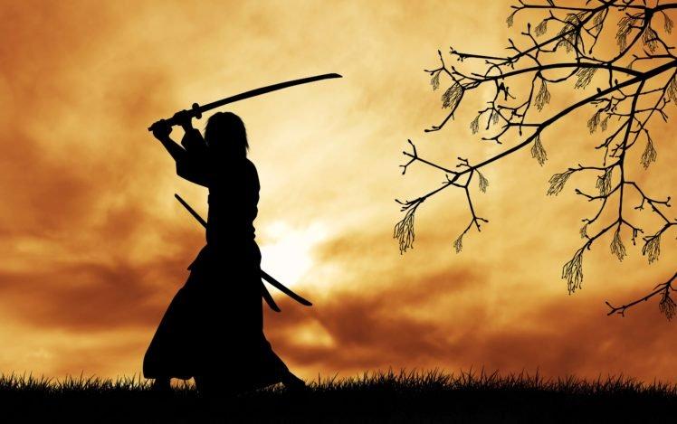 Samurai Japanese Clothes Katana Silhouette Trees Branch