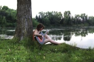 women, Model, Brunette, Long hair, Sitting, Nature, Trees, Forest, Barefoot, Guitar, Playing, Grass, Water