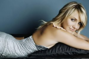 celebrity, Cameron Diaz, Women, Blonde, Blue eyes, Lying down, Dress
