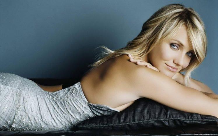 celebrity, Cameron Diaz, Women, Blonde, Blue eyes, Lying down, Dress HD Wallpaper Desktop Background